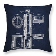 Oil Well Packer Patent From 1904 - Navy Blue Throw Pillow