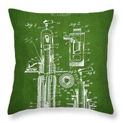 Oil Well Pump Patent From 1912 - Green Throw Pillow