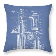Oil Well Pump Patent From 1912 - Light Blue Throw Pillow
