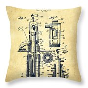 Oil Well Pump Patent From 1912 - Vintage Throw Pillow