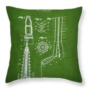 Oil Well Reamer Patent From 1924 - Green Throw Pillow
