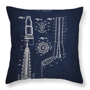 Oil Well Reamer Patent From 1924 - Navy Blue Throw Pillow