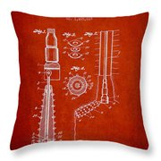 Oil Well Reamer Patent From 1924 - Red Throw Pillow