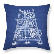 Oil Well Rig Patent From 1893 - Blueprint Throw Pillow