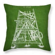 Oil Well Rig Patent From 1893 - Green Throw Pillow
