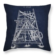 Oil Well Rig Patent From 1893 - Navy Blue Throw Pillow