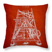 Oil Well Rig Patent From 1893 - Red Throw Pillow
