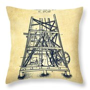 Oil Well Rig Patent From 1893 - Vintage Throw Pillow