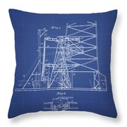 Oil Well Rig Patent From 1917 - Blueprint Throw Pillow