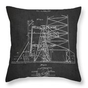 Oil Well Rig Patent From 1917- Dark Throw Pillow