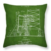 Oil Well Rig Patent From 1917- Green Throw Pillow
