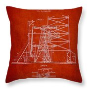 Oil Well Rig Patent From 1917- Red Throw Pillow