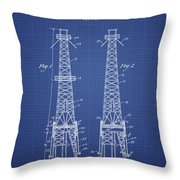 Oil Well Rig Patent From 1927 - Blueprint Throw Pillow