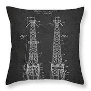 Oil Well Rig Patent From 1927 - Dark Throw Pillow