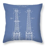 Oil Well Rig Patent From 1927 - Light Blue Throw Pillow