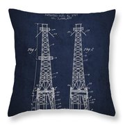 Oil Well Rig Patent From 1927 - Navy Blue Throw Pillow