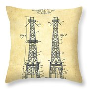 Oil Well Rig Patent From 1927 - Vintage Throw Pillow