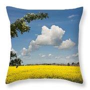 Oilseed Rape Field Against Blue Sky Throw Pillow