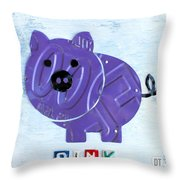 Oink The Pig License Plate Art Throw Pillow