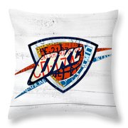 Okc Thunder Basketball Team Retro Logo Vintage Recycled Oklahoma License Plate Art Throw Pillow