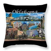 Oklahoma Collage With Words Throw Pillow