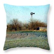 Oklahoma Farm In Winter Throw Pillow