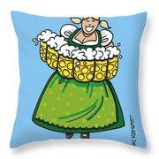 Oktoberfest Beer Waitress Dirndl Throw Pillow
