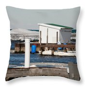 Olcott Beach Harbor Throw Pillow