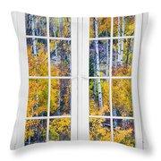 Old 16 Pane White Window Colorful Fall Aspen View  Throw Pillow