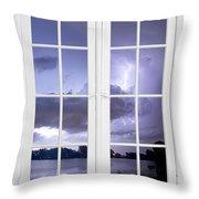 Old 16 Pane White Window Stormy Lightning Lake View Throw Pillow