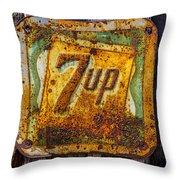 Old 7 Up Sign Throw Pillow