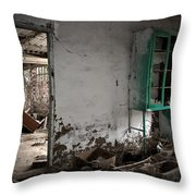 Old Abandoned Kitchen Throw Pillow