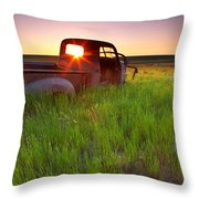 Old Abandoned Pick-up Truck Sitting In Throw Pillow