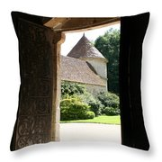 Old Abbey Church Door - Abbey Fontenay Throw Pillow
