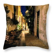 Old Alley At Night Throw Pillow