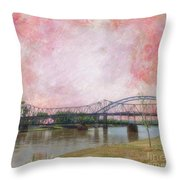 Old Amelia Earhart Bridge Throw Pillow