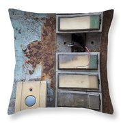 Old And Damaged Doorbells Throw Pillow
