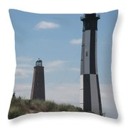 Old And New Cape Henry Lights Together Throw Pillow
