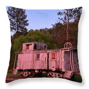 Old And Weathered Caboose Throw Pillow
