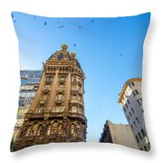 Old Apartment Building Throw Pillow