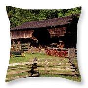 Old Appalachian Farm Cantilevered Barn Throw Pillow