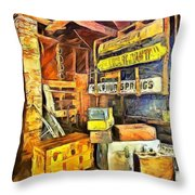 Old Baggage Claim Throw Pillow