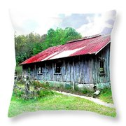 Old Barn Along Golden Road Filtered Throw Pillow
