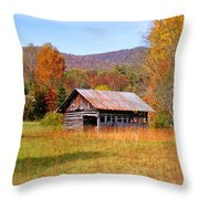 Old Barn Along Slick Fisher Road Throw Pillow