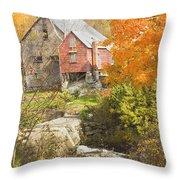 Old Barn And Dam In Autunm Vienna Maine Throw Pillow