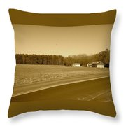 Old Barn And Farm Field In Sepia Throw Pillow