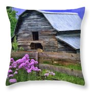 Old Barn And Flowers Throw Pillow