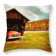 Old Barn And Red Truck Throw Pillow