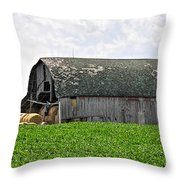 Old Barn And Round Bales Throw Pillow
