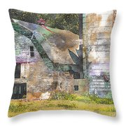 Old Barn And Silos Digital Paint Throw Pillow